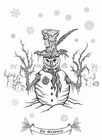 Creepy Adult Coloring Books Pages Christmas Template