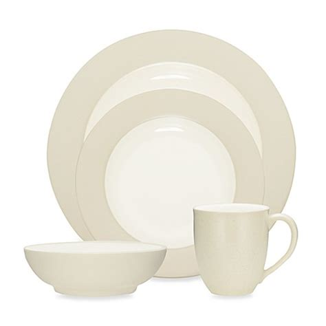 dinnerware cream noritake colorwave rim bedbathandbeyond dinner dishes casual plates stoneware bed beyond bath wave dishware table splash modern