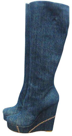 giuseppe zanotti blue denim leather women heels  wedge