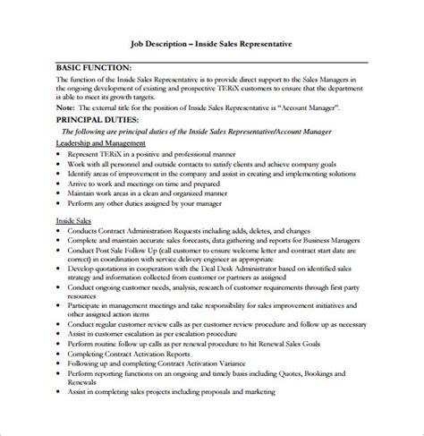 sales representative job description template