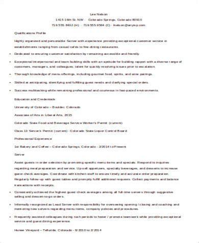 restaurant resume sles server 28 images restaurant
