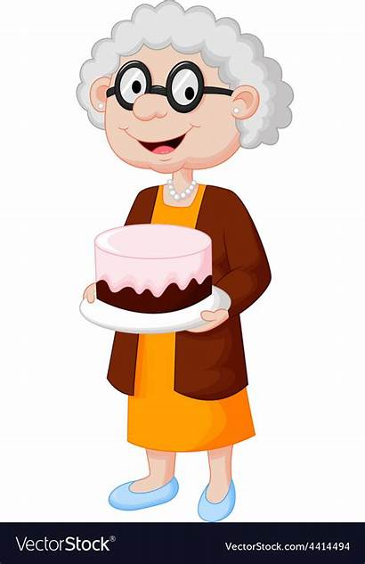 Birthday Clipart Grandma Grandmother Cake Cartoon Dibujo