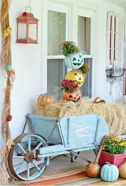 Fall Porch Decorating Autumn Decorations Cottage Pumpkin