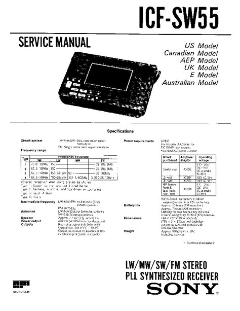 Boat Anchor Manual Archive by Sony Icf Sw55 Service Manual Filews
