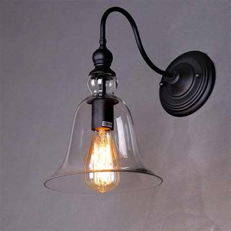 rh loft vintage bell shape loft glass wall sconce clear glass shade wall lights bar cafe store
