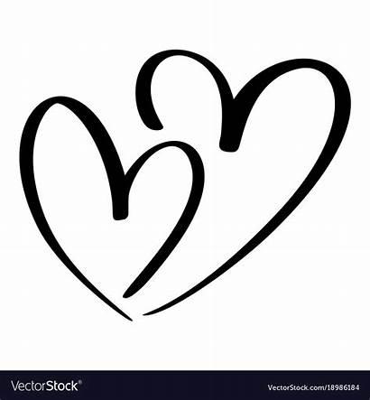Heart Calligraphy Vector Lovers Hearts Double Handmade