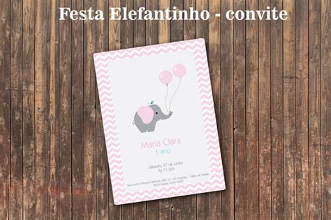 elefantinho rosa chevron chic convite no elo7 bolle it 225 lia 3f963a