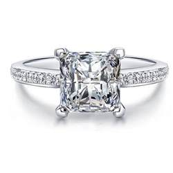 wholesale wedding rings princess cut created solid real 925 sterling silver jewelry engagement ring set