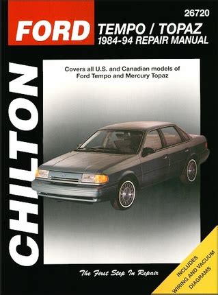 best car repair manuals 1985 mercury topaz electronic valve timing ford tempo mercury topaz repair manual 1984 1994 chilton 26720