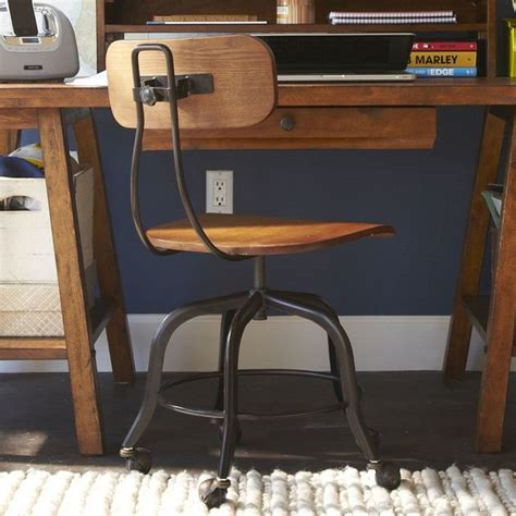vintage wood swivel chair modern office chairs by pbteen