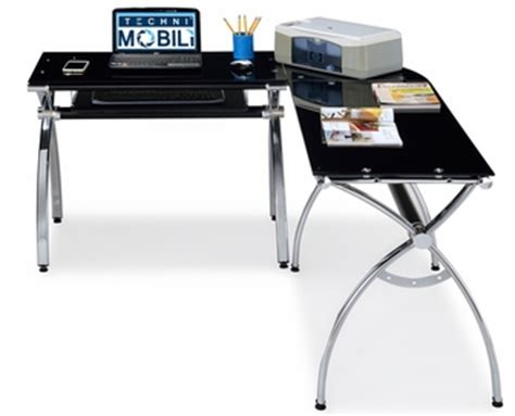 Techni Mobili Computer Desk Canada by Techni Mobili L Shaped Computer Desk Black Glass Rta
