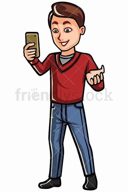 Phone Mobile Cartoon Clipart Chatting Vector Friendlystock