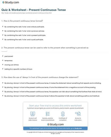 Quiz Worksheet Present Continuous Tense Studycom
