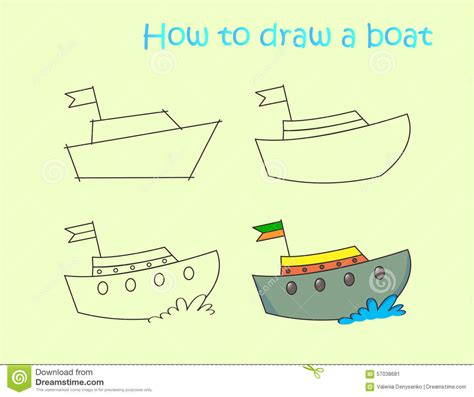 Boat Drawing Instructions by Instruction Drawing Funny Colorful Boat Stock Vector
