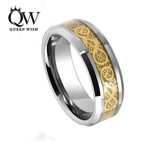 queenwish 8mm tungsten carbide ring gold celtic