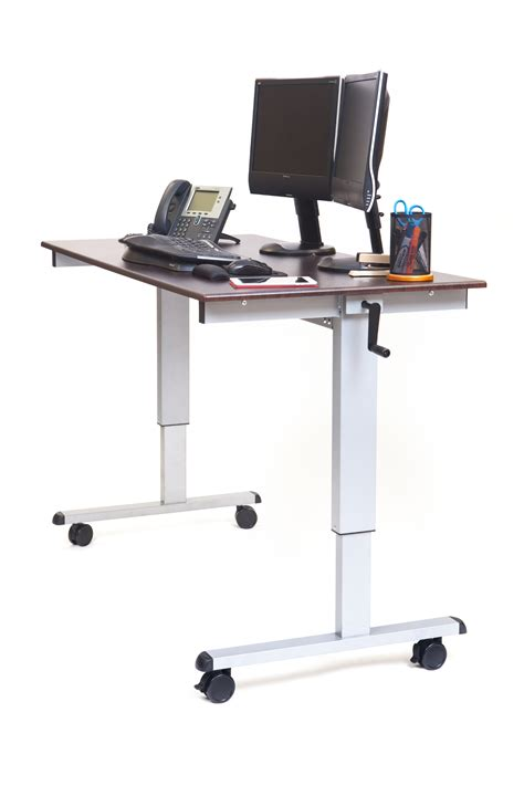 hand crank standing desk luxor 60 hand crank adjustable stand up desk notsitting com