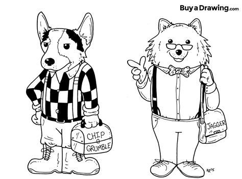 corgi  pomeranian dog caricature cartoon drawings