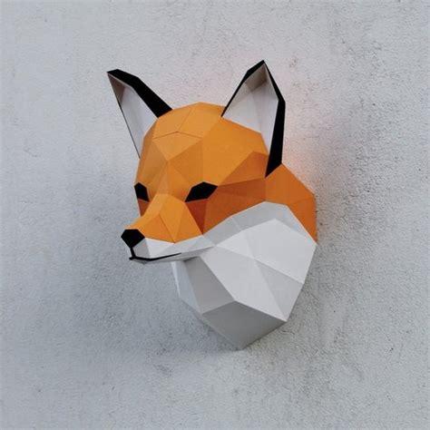 papercraft fox head printable diy template  wastepaperhead
