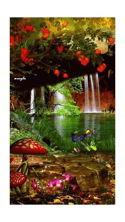 Nature Amazing Waterfall Spectacular Flowers Garden Beauty