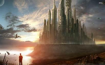 Epic Futuristic Castle Fantasy Sci Fi Wallpapers