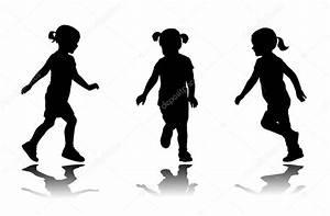 Little girl running silhouettes — Stock Vector © bokica ...