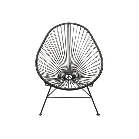 acapulco modern steel lounge chair black frame black