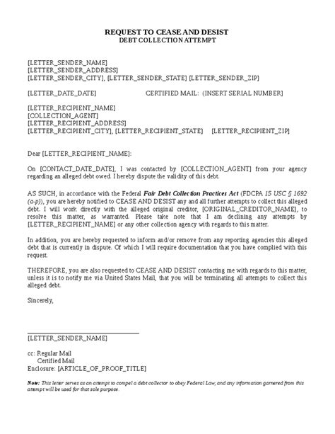 collection letter sle cease and desist collection letter template 28 images