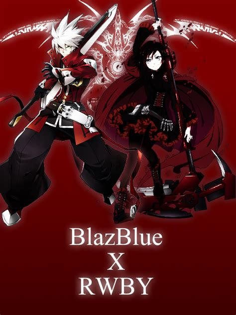 ruby rose vs ragna blazblue x rwby ragna and ruby poster by 115saber501 on