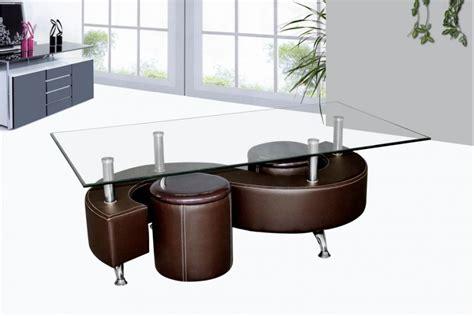 solde meuble cuisine table basse avec poufs wendy verre et simili cuir noir