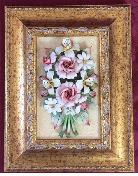 set   quadri classici  capodimonte porcellana  composti da rose  fiori misti catawiki