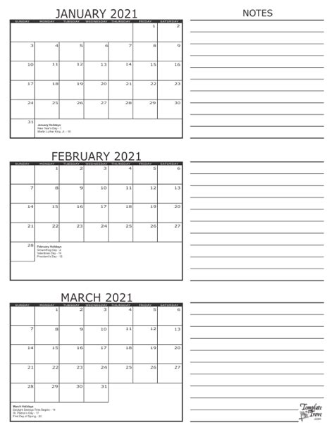Three Month Calendar Template Trove by 3 Month Calendar 2021