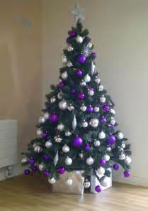 purple trees decorated happy holidays