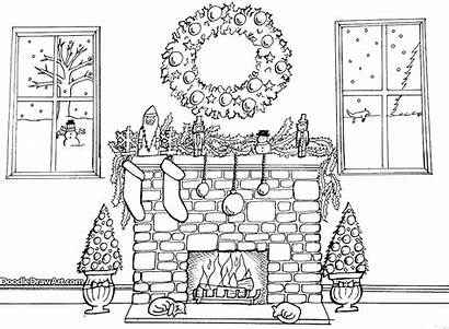Fireplace Christmas Coloring Drawing Printable Adults Pages