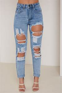 Blue High Waisted Ripped & Distressed Mom Jeans | LASULA