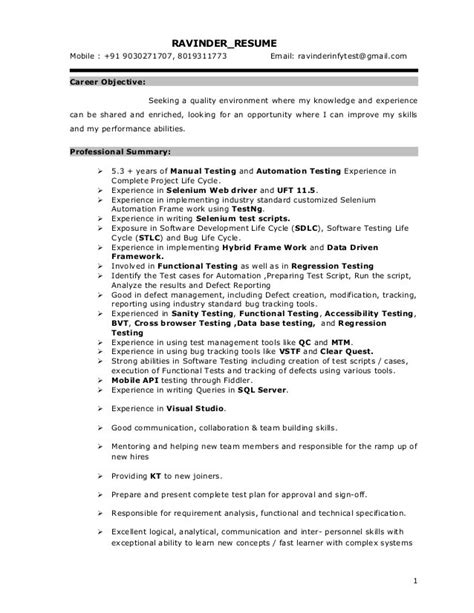 Qtp Resumes by Sle Resume For Years Experience In Qtp Professional Resumes On Lead Test Engineer