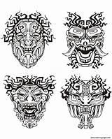 Aztec Coloring Mayan Mask Adult Tattoos Printable Tattoo Tribal sketch template