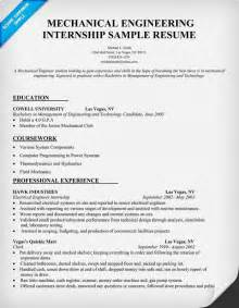 mechanical engineering internship resume sle resumecompanion com resume sles across