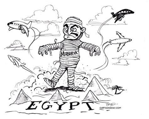 Egypt Crisis Cartoon President Mubarak Scares Egyptians