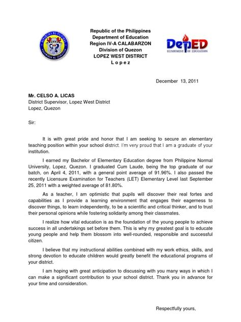 Cover Letter For Teachers Application by Application Letter For Sle Cover Experience