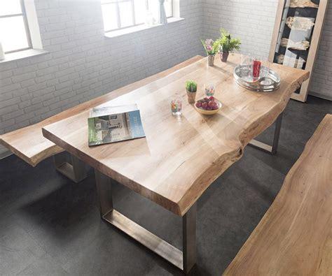 Küchentisch Schmal by Delife Baumtisch Live Edge 260x100 Akazie Gebleicht Platte