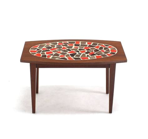 pair of walnut and tile mosaic side or end tables for sale