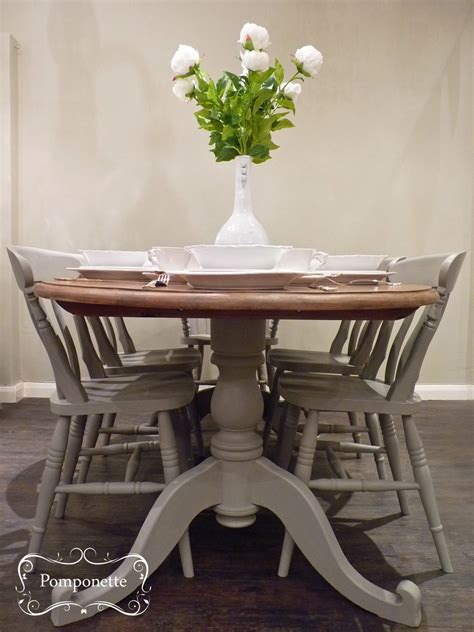 oval dining table chairs  pomponette painted furniture
