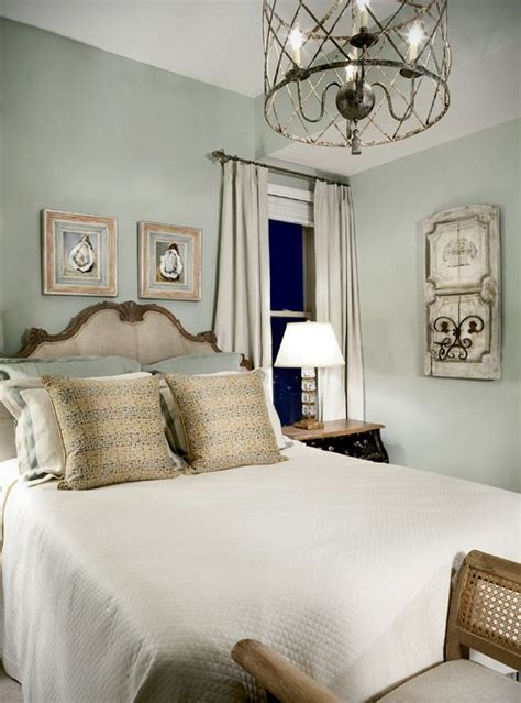 guest room  walls painted  silver sage color