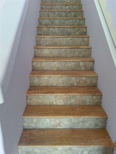 travertine tile stair treads risers design ideas
