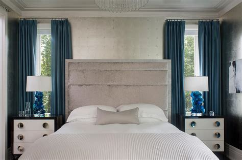 Gray And Blue Bedroom With Sapphire Lamps-contemporary