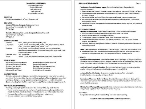Computer Programmer Resume Exles by Computer Programmer Description Resume Recentresumes