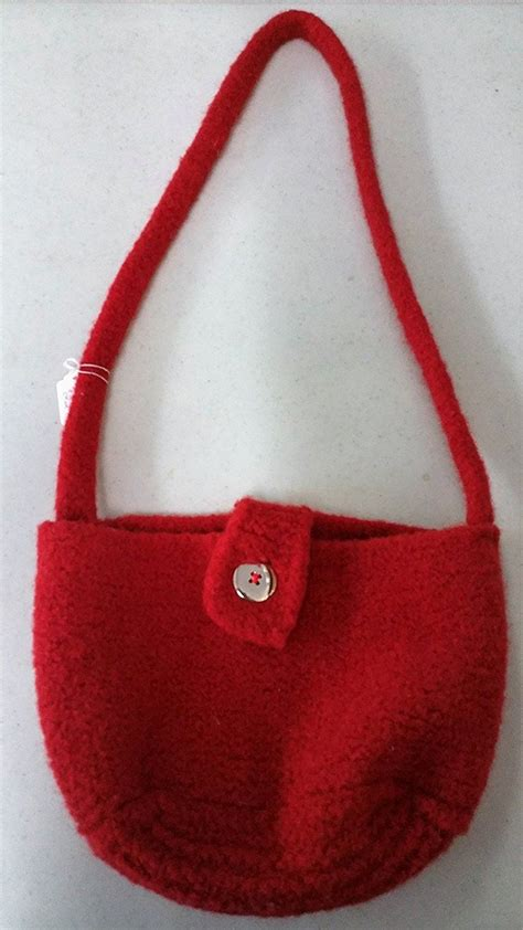 hand knitted cross body bag  red additional details   pin image click  womens