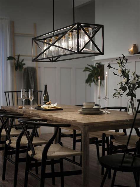 kichler linear chandelier  dining room farmhouse