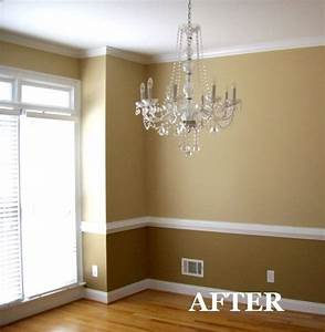 two tone dining room with chair rail light color above With two tone dining room color ideas