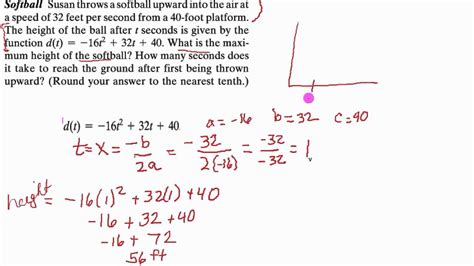 Quadratic Equation Word Problem Example Height Of A Ball Youtube